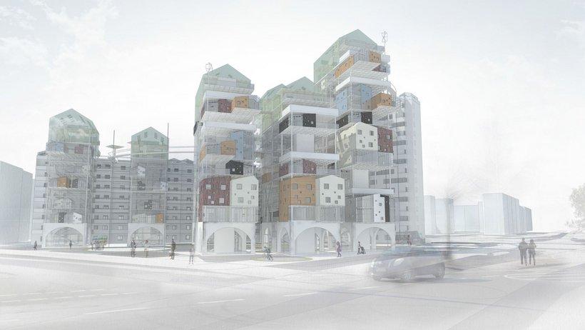 Visualisierung von gestapelten Häusern